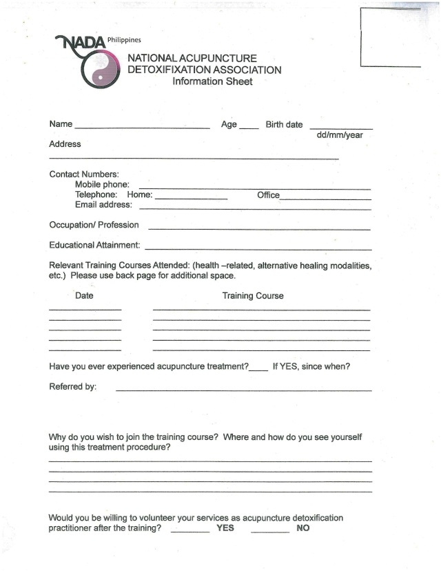 NADA Philippines - Profile Form
