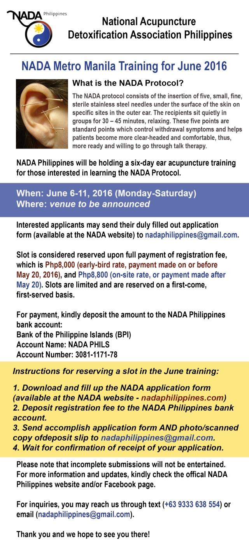 NADA training poster