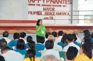 NADA Philippines Board President Janet Paredes speaking to LGU officials of Infanta, Quezon about NADA Philippines.